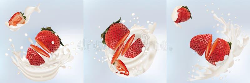 ?claboussez la fraise dans le vecteur 3d r?aliste de lait Fruit cru de fraise La fraise de totalit? et de tranche avec ?clabousse illustration libre de droits