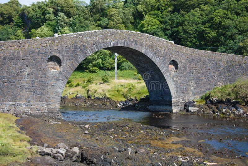 Clachan Bridge over the Atlantic on the Island of Seil near Oban in Argyll Scotland royalty free stock photos