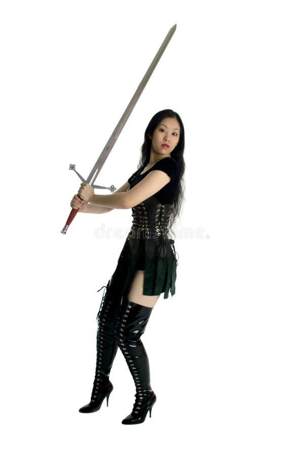 Clad Leather Warrior Στοκ εικόνα με δικαίωμα ελεύθερης χρήσης