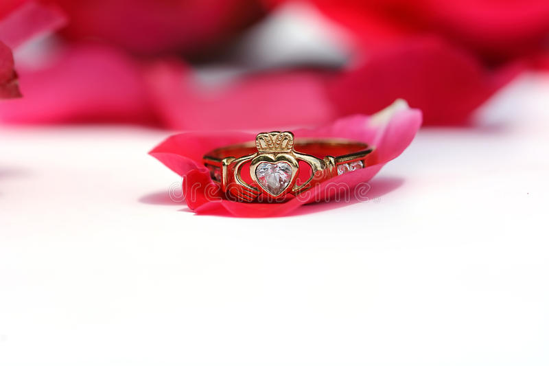 Claddagh Ring. With a red rose stock photos