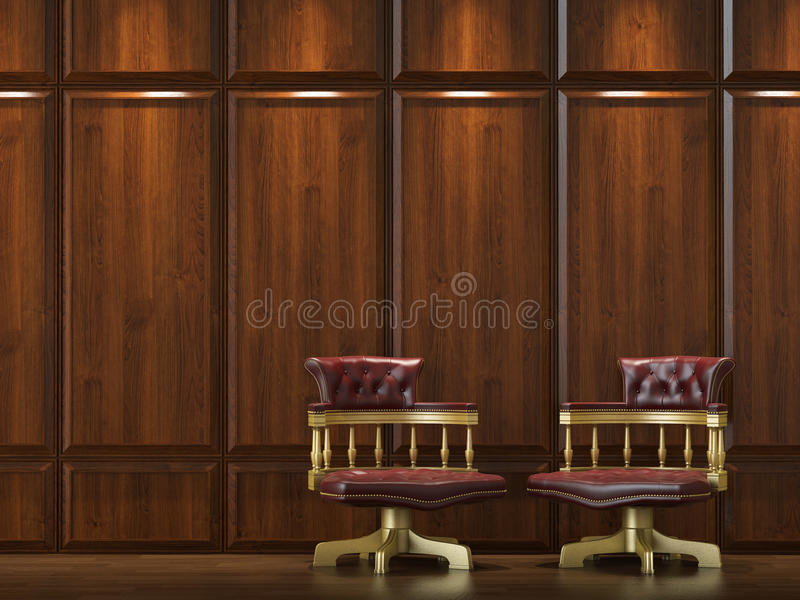 Download Cladding wall with chairs stock image. Image of leather - 10587451