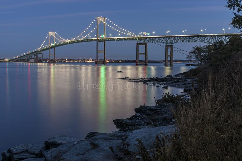 Claiborne Pell Newport Bridge stock afbeeldingen
