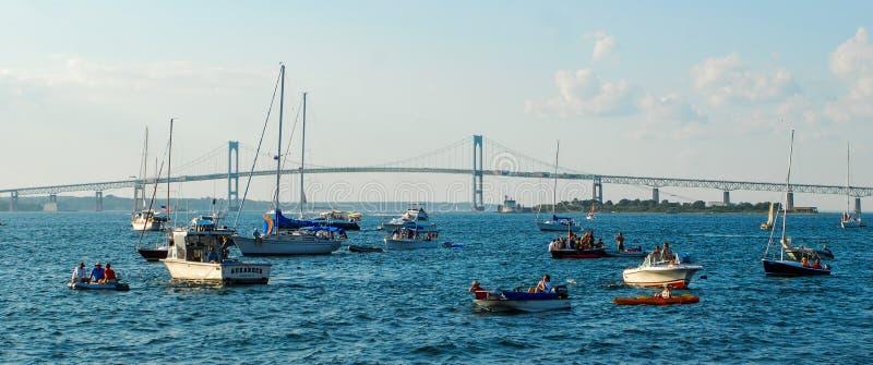 Claiborne Pell Newport Bridge, Newport, RI foto de stock royalty free