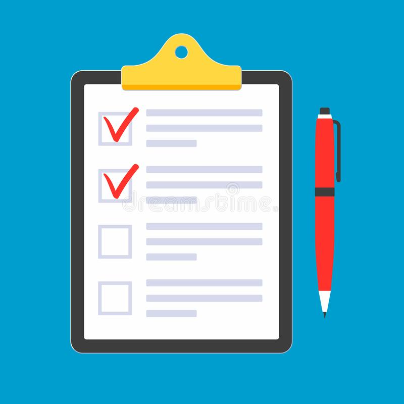 Clipboard with to do list claim form on it, paper sheets, check marks tick OK in the checkbox on the list, red pen isolated on lig. Ht blue background flat style royalty free illustration