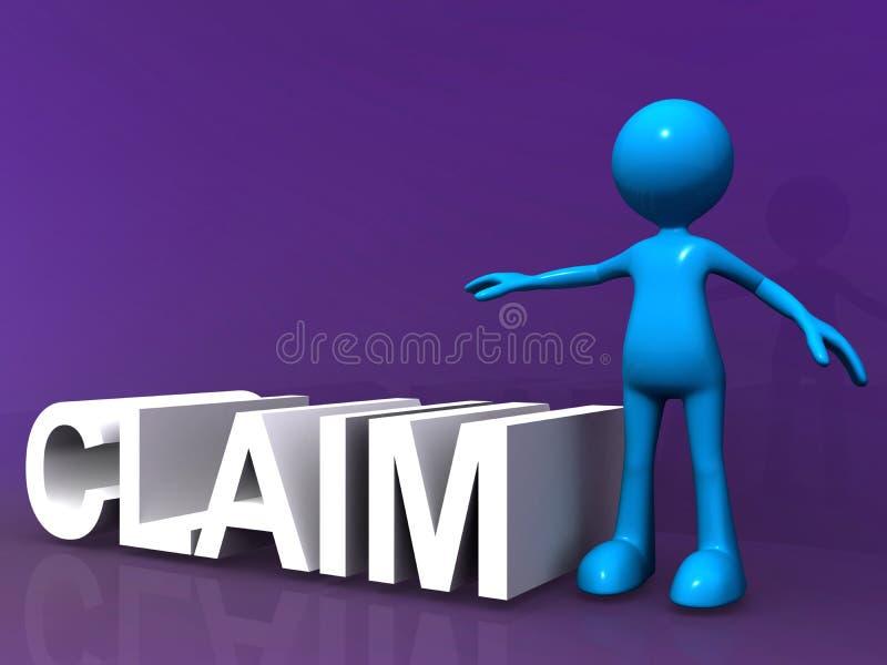 Claim heading and figure. Claim heading and blue figure on purple background royalty free illustration