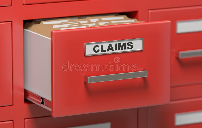 Claims files and documents in cabinet in office. 3D rendered illustration.  royalty free illustration