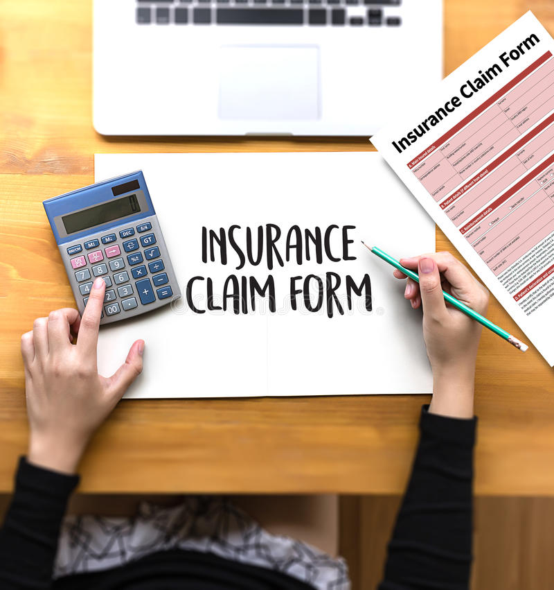 CLAIMS Health insurance form , Business Concept , Insured Claims. Emergency Condition stock image