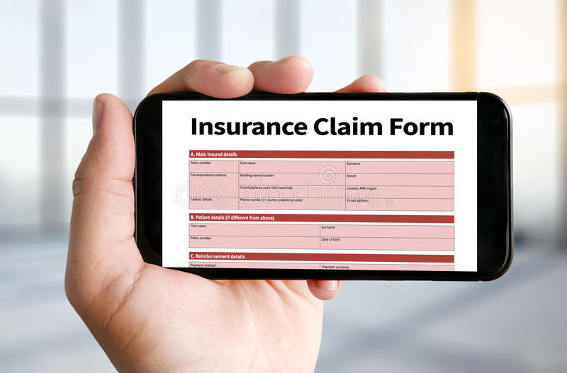 CLAIMS Health insurance form , Business Concept , Insured Claims. Emergency Condition royalty free stock photography