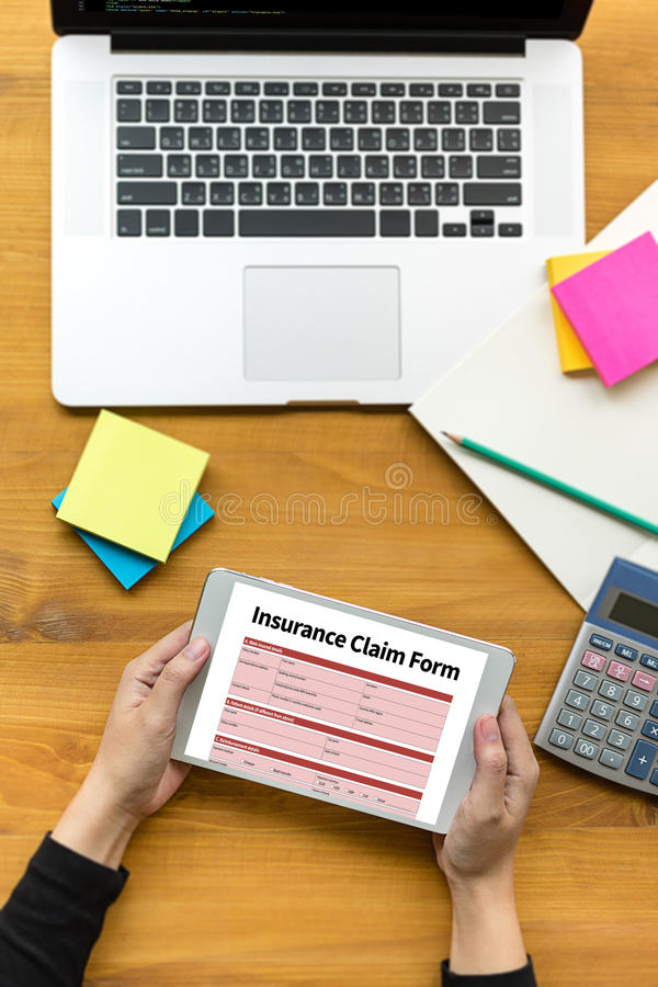 CLAIMS Health insurance form , Business Concept , Insured Claims. Emergency Condition stock photography
