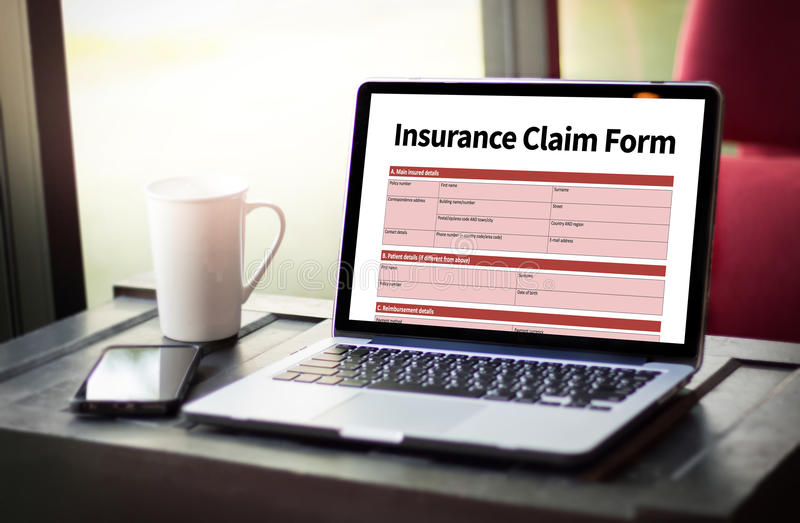 CLAIMS Health insurance form , Business Concept , Insured Claims. Emergency Condition stock photo