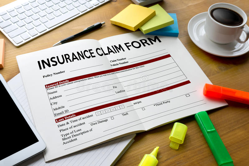 CLAIMS Health insurance form , claims document of the customer. To the insurance , Claims - Business Concept , insurance claim , Insured Claims Emergency stock photo