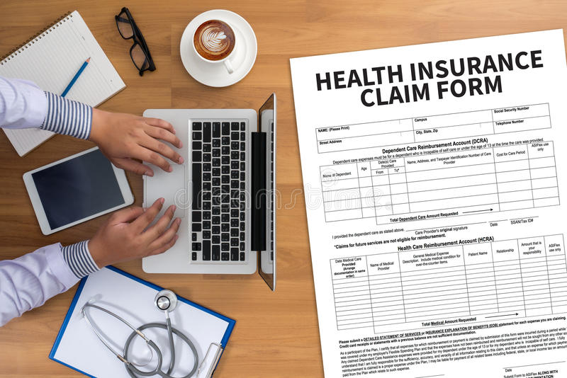 CLAIMS Health insurance form , claims document of the customer. To the insurance , Claims - Business Concept , insurance claim , Insured Claims Emergency stock photography