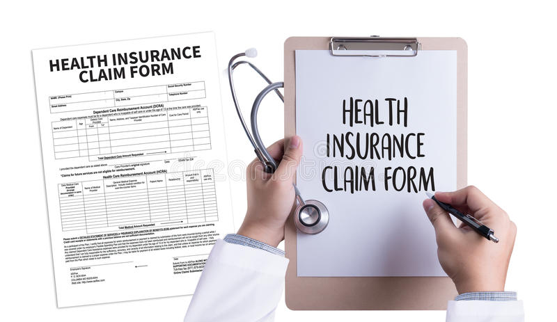 CLAIMS Health insurance form , claims document of the customer. To the insurance , Claims - Business Concept , insurance claim , Insured Claims Emergency stock image