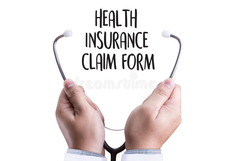CLAIMS Health insurance form , claims document of the customer. To the insurance , Claims - Business Concept , insurance claim , Insured Claims Emergency stock photos