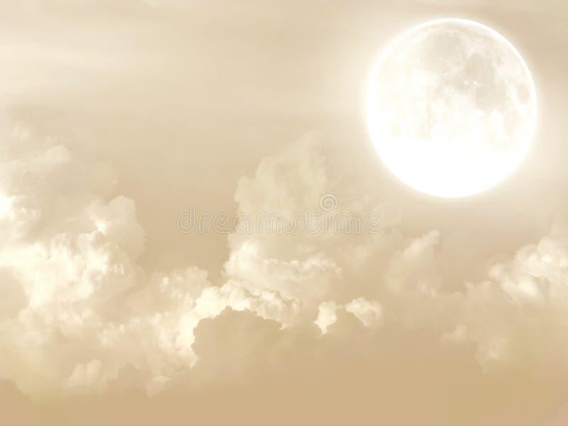 Clair de lune avec le fond brouillé par nuages photo libre de droits