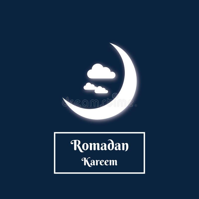 Clair de lune en croissant et nuage de kareem de Romadan image libre de droits