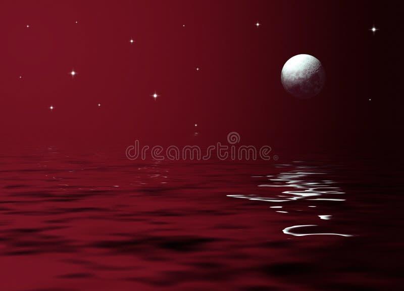 Clair de lune en mer illustration stock