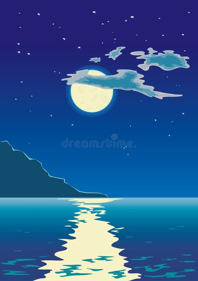 Clair de lune sur la mer illustration de vecteur