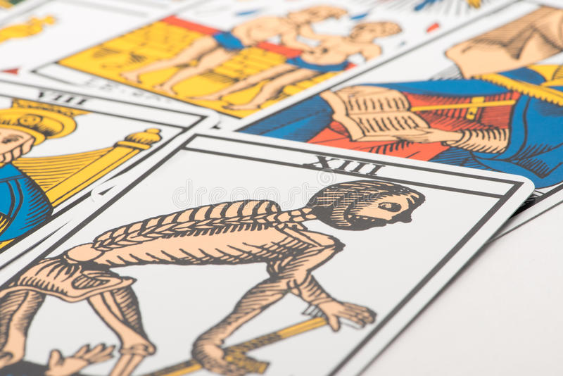 Clairvoyance tarot cards and death card. Clairvoyance tarot cards on white background royalty free stock images