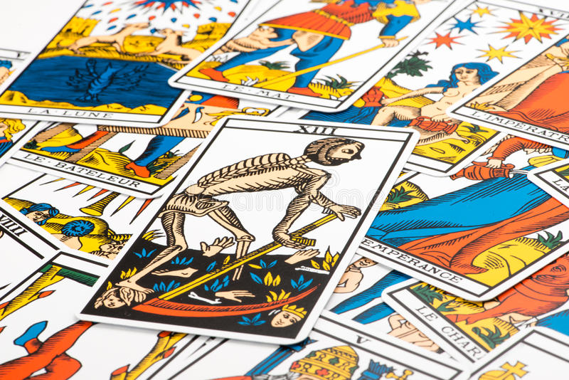 Clairvoyance tarot cards and Death card. Clairvoyance tarot cards on white background stock photography