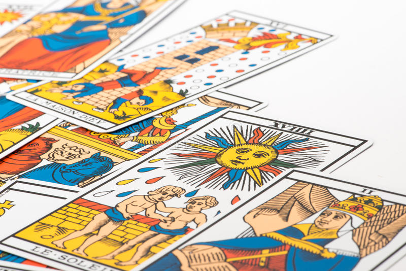 Clairvoyance tarot cards. On white background royalty free stock photography