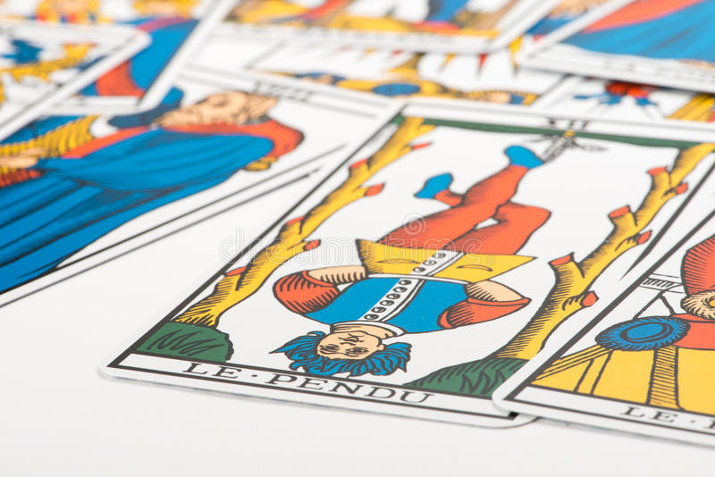 Clairvoyance tarot cards. On white background stock images