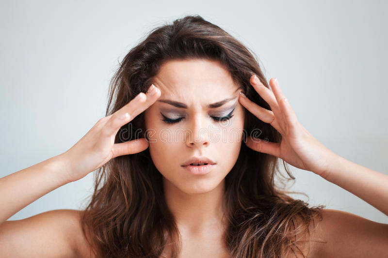 The clairvoyant thinks with concentration stock photo
