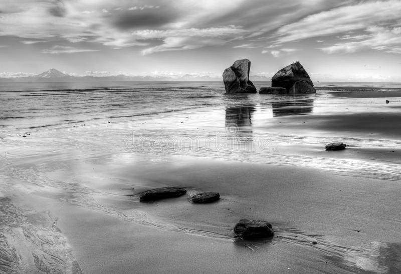 Beach at low tide stock image