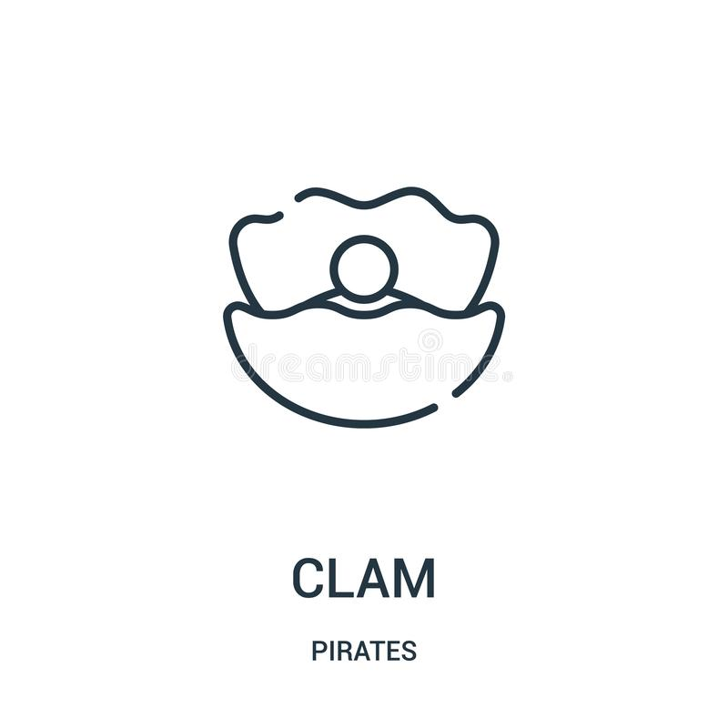 clam icon vector from pirates collection. Thin line clam outline icon vector illustration. Linear symbol for use on web and mobile stock illustration