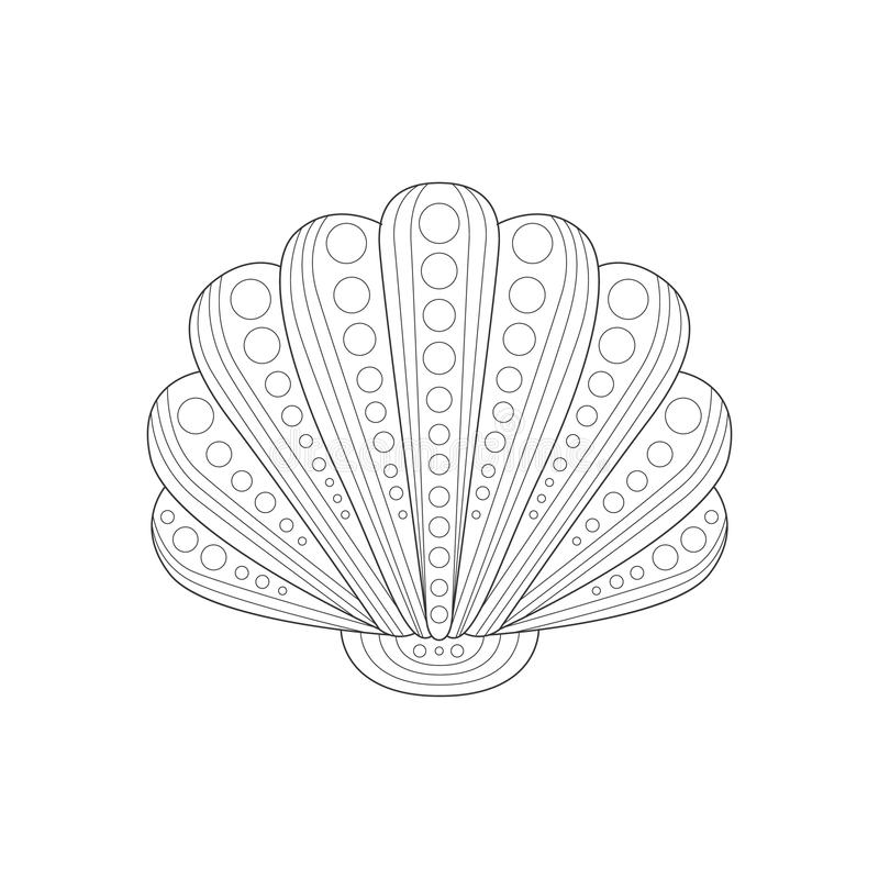 Download Shell Sea Underwater Nature Adult Black And White Zentangle Coloring Book Illustration Stock Vector