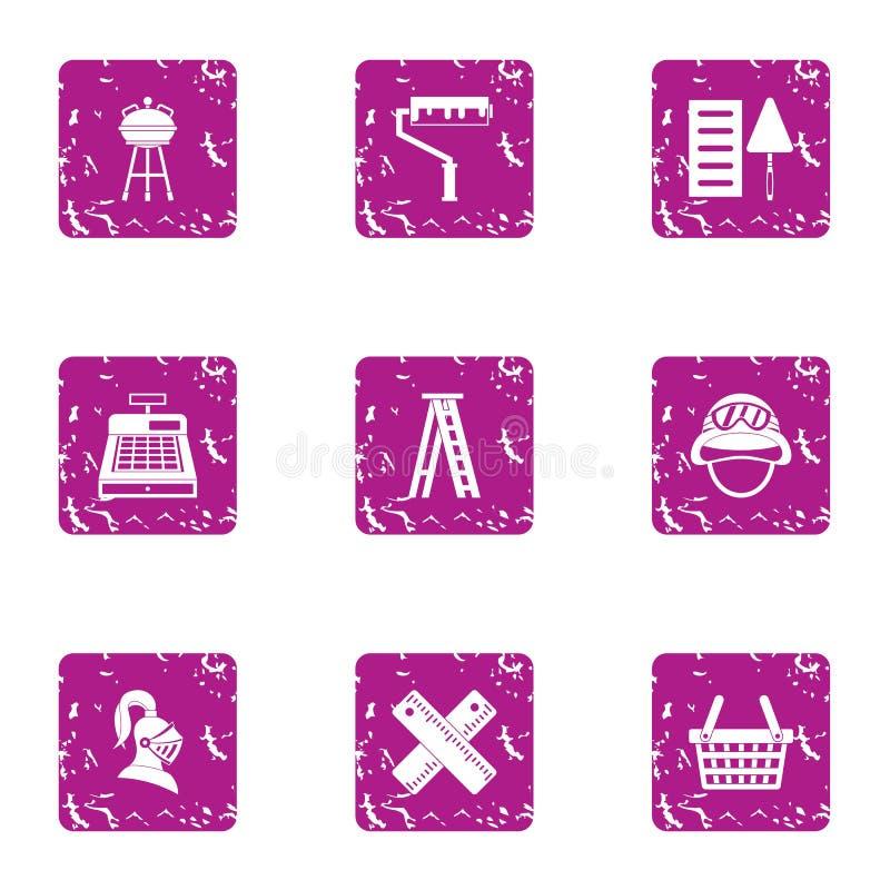 Clambake symbolsuppsättning, grungestil royaltyfri illustrationer