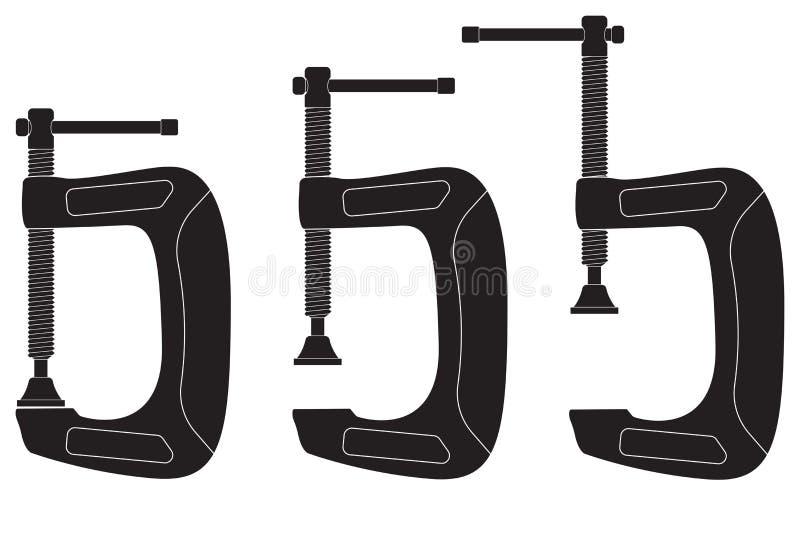 Clamp. Black icons stock illustration