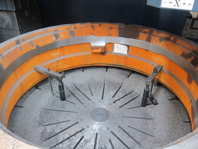 Clamp holder. On job inside Lathe machining royalty free stock images