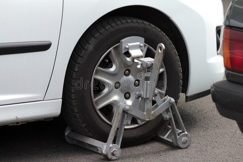 Clamped car stock image