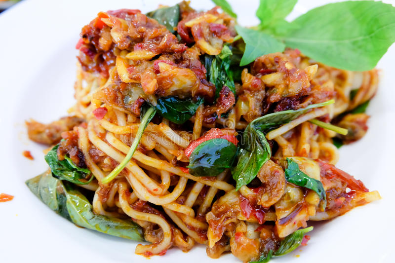 Clams младенца спагетти стоковые фото
