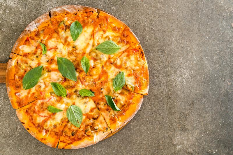 Clams pizza - Italian food stock images