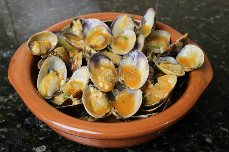 Clams in seafood sauce typical Andalusian and Spanish cuisine. Clams in seafood sauce is a typical meal of Andalusian and Spanish cuisine. The clams are in a royalty free stock photos