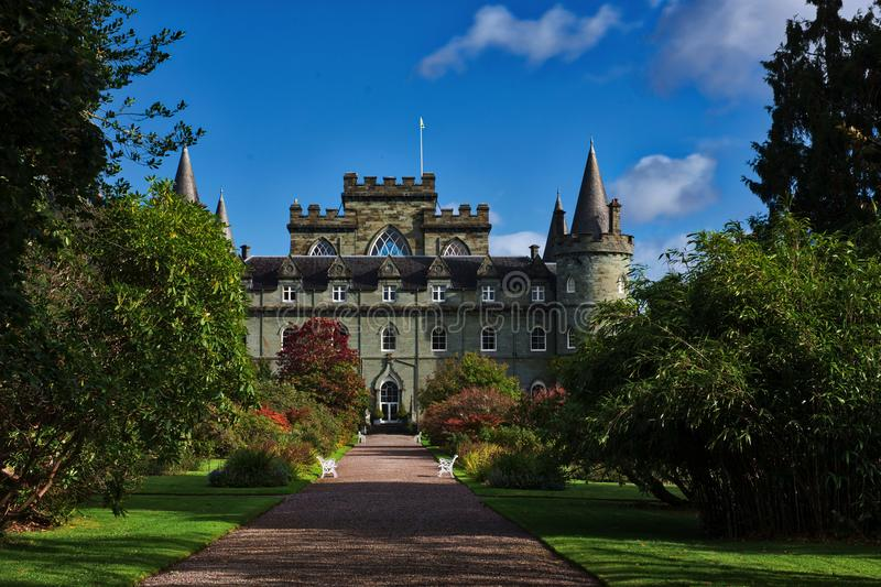 Clan Campbell Inverary Castle. In the highlands, on the west coast of Scotland, stands the magnificent Inverary Castle; home of the Campbell Clan for a thousand stock images