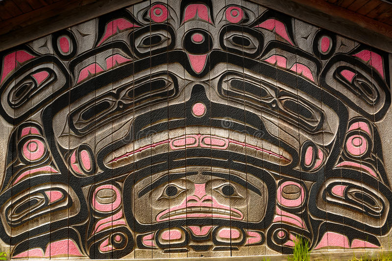 Clan House Carvings royalty free stock photography