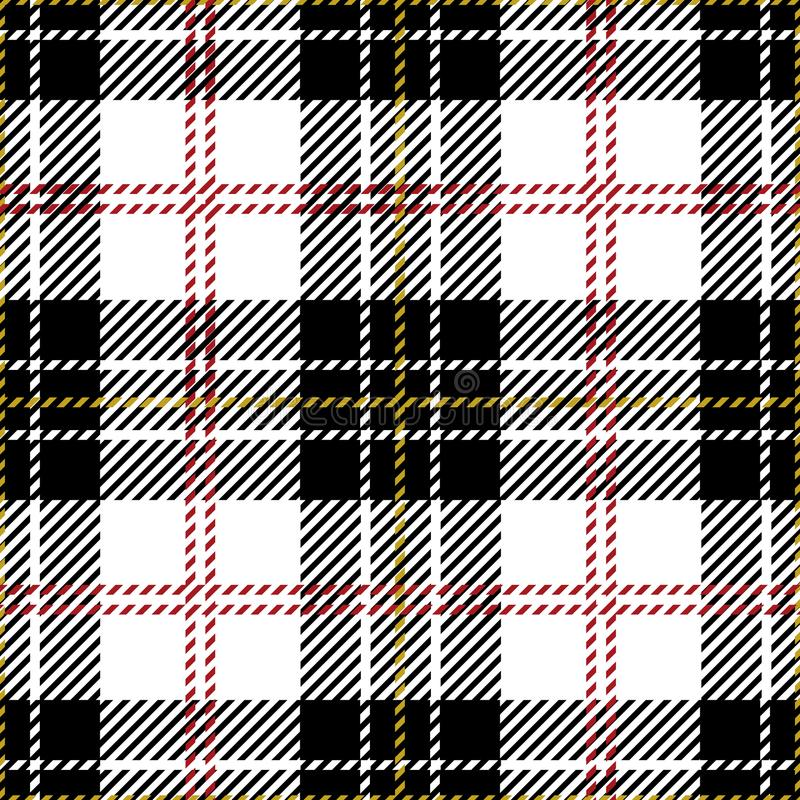 Black And White Tartan Plaid Seamless Scottish Pattern Stock