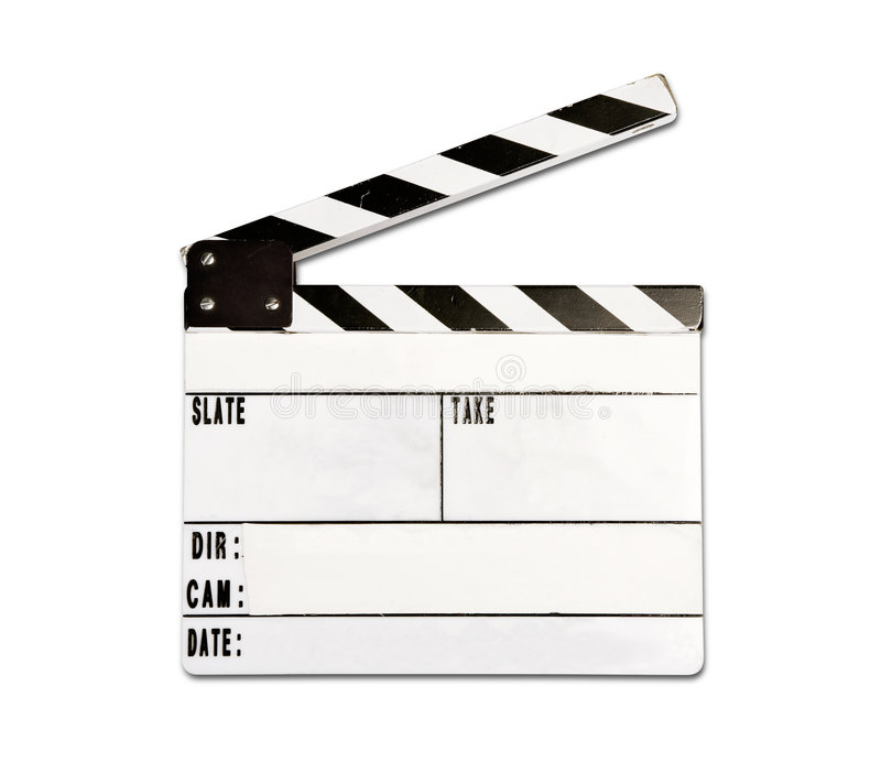 Clap board. Real clap board with wear and tear isolated on white background stock photos