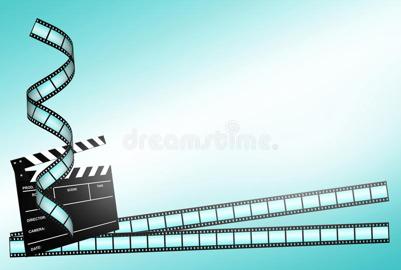 Clap board ant film strip on blue background. Clap board and three film strips on blue background stock illustration