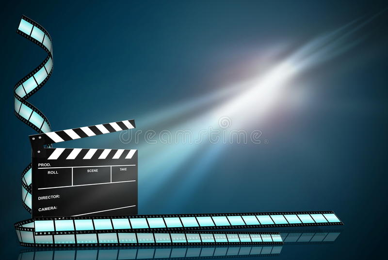 Clap board ant film strip on dark blue background. Clap board and three film strips on abstract dark background stock illustration