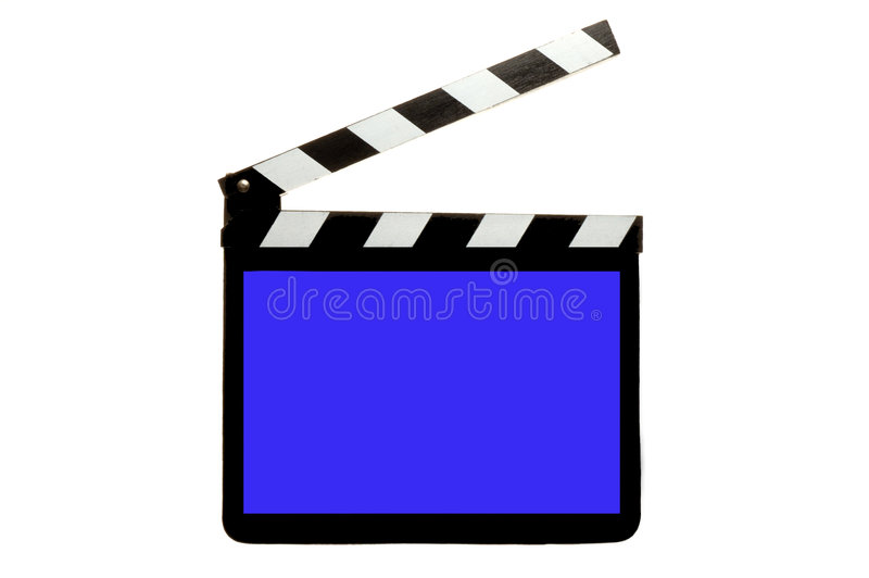 Clapperboard with blue screen. Movie Clapperboard with blue screen to drop in graphic or picture stock illustration