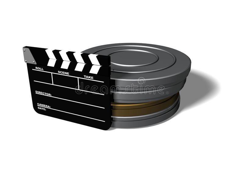 Clap Board and Film Cans. Isolated on white vector illustration
