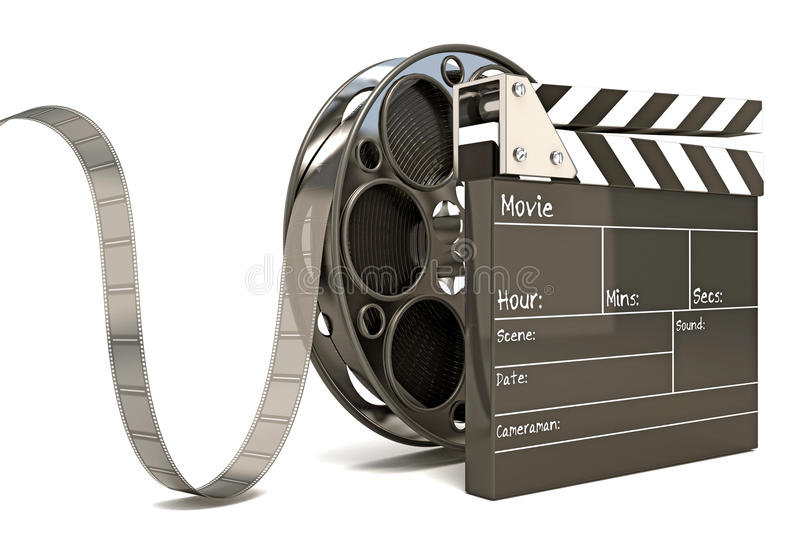 Clap Board with Film Reel. Illustration of clap board with film reel vector illustration