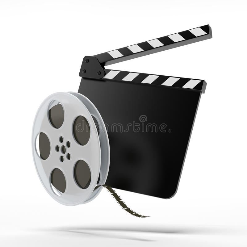 Clap board with film reel. Isolated on a white background stock illustration