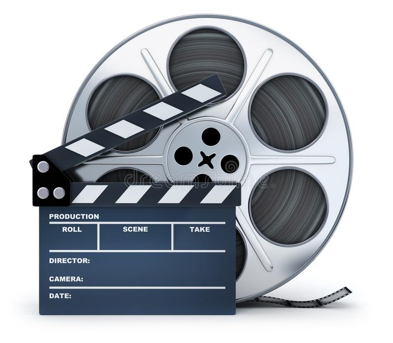 Clap-board and film spool on white background. 3d illustration vector illustration