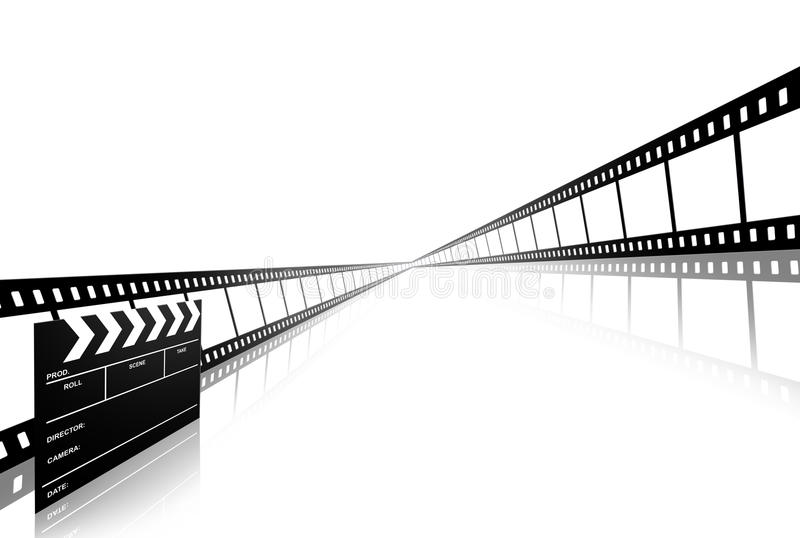 Clap board and film strip on white. Clap board and film strip isolated on white stock illustration