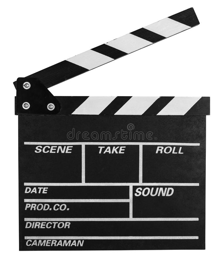 Clap board isolated on white with clipping path included. Clap board isolated on white stock photos